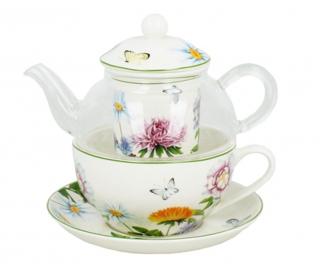 Sada čajník s infuzérem, šálek a podšálek Linda
