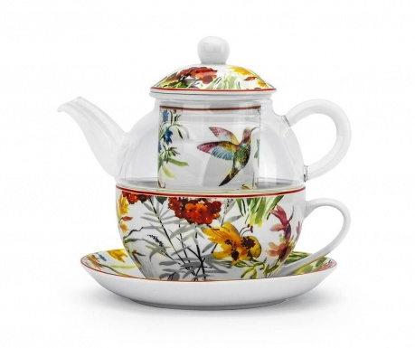 Sada čajník s infuzérem, šálek a podšálek Linnea