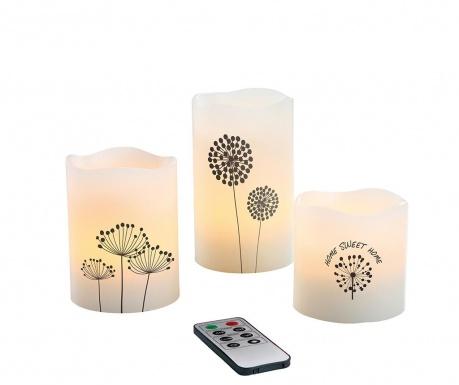 Комплект 3 ароматизирани свещи с LED и дистанционно устройство Dandy