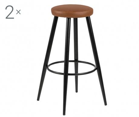 Sada 2 barových židlí Hector Vintage Brandy
