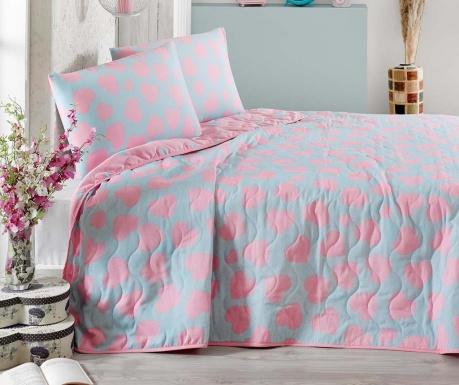 Set s prešitim posteljnim pregrinjalom Single Pari Turquoise