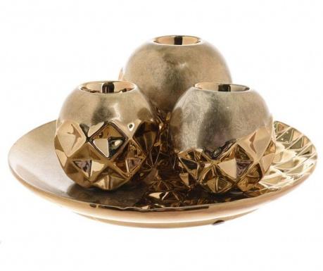 Zestaw 3 świeczników z paterą dekoracyjną Shapes