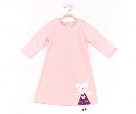Rochie cu maneca lunga pentru copii Cat Pink 7 ani