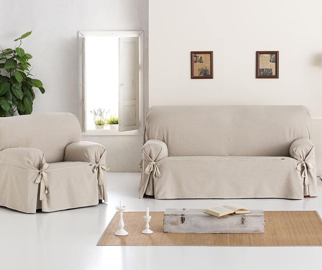 Podesiva navlaka za fotelju Constanza Linen Bows 130-160 cm