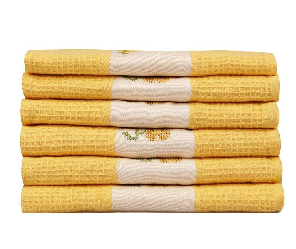 Set 6 kopalniških brisač Pecetelik  Yellow 45x70 cm