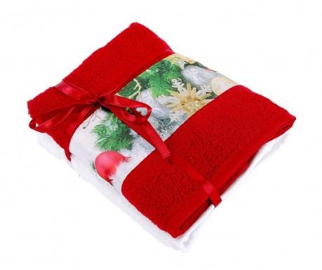 Zestaw 2 ręczników kąpielowych Fancy Red 50x90 cm