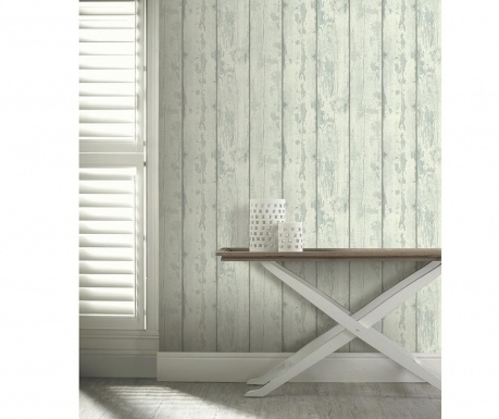 Tapeta Washed Wood Cream Teal 53x1005 cm