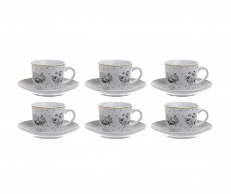 Set 6 skodelic in 6 krožničkov Coffee Grey Roses