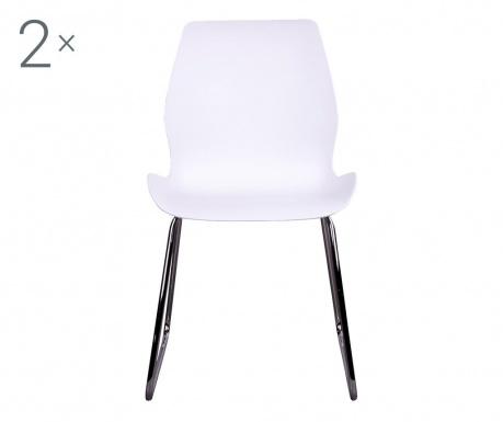 Zestaw 2 krzeseł Sola White