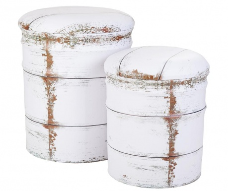 Set 2 taburete Drum White