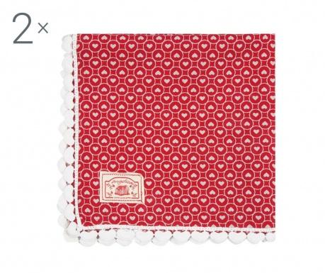 Sada 2 ubrousků Frills Red 40x40 cm