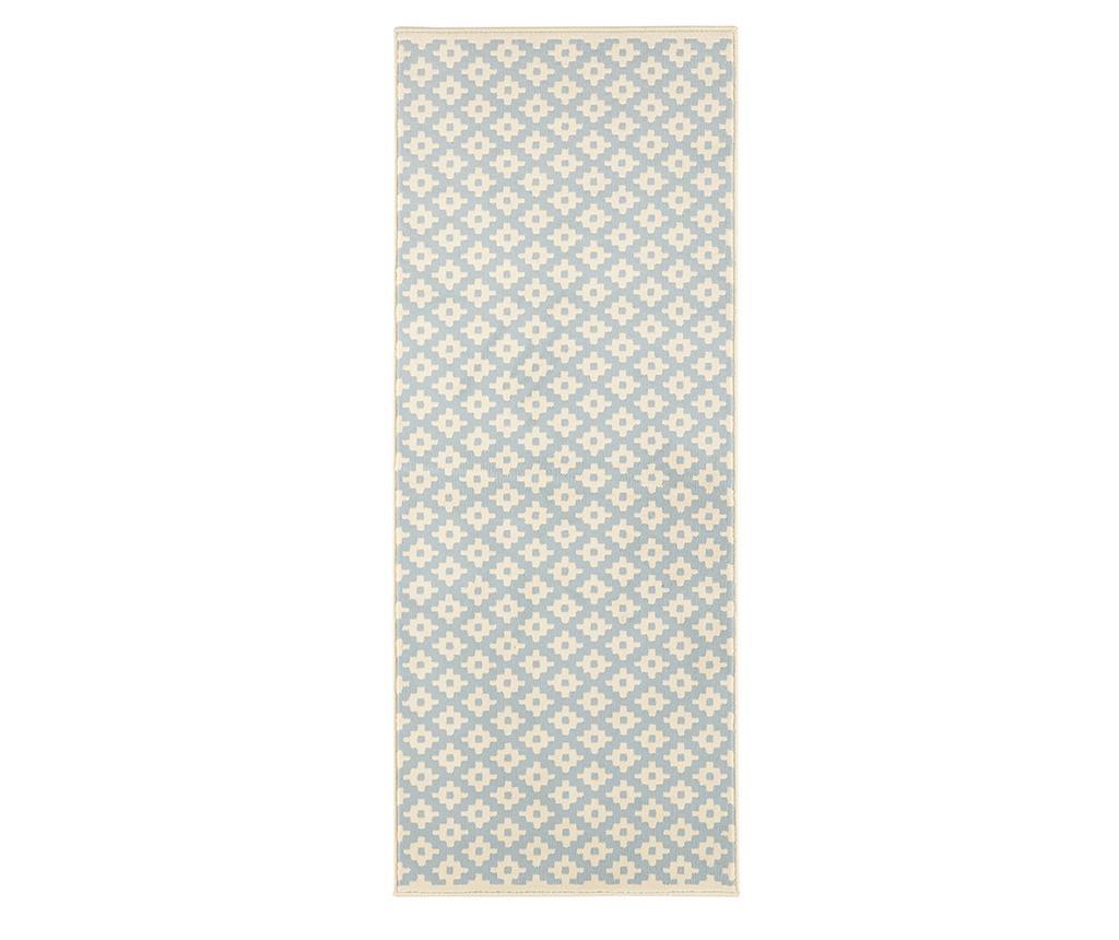 Covor Lattice Blue Cream 80x150 cm