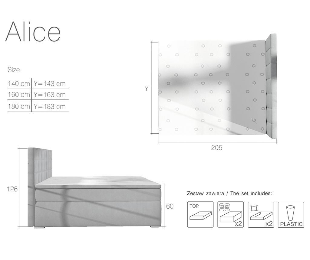 Boxspring krevet Alice Black 160x200 cm