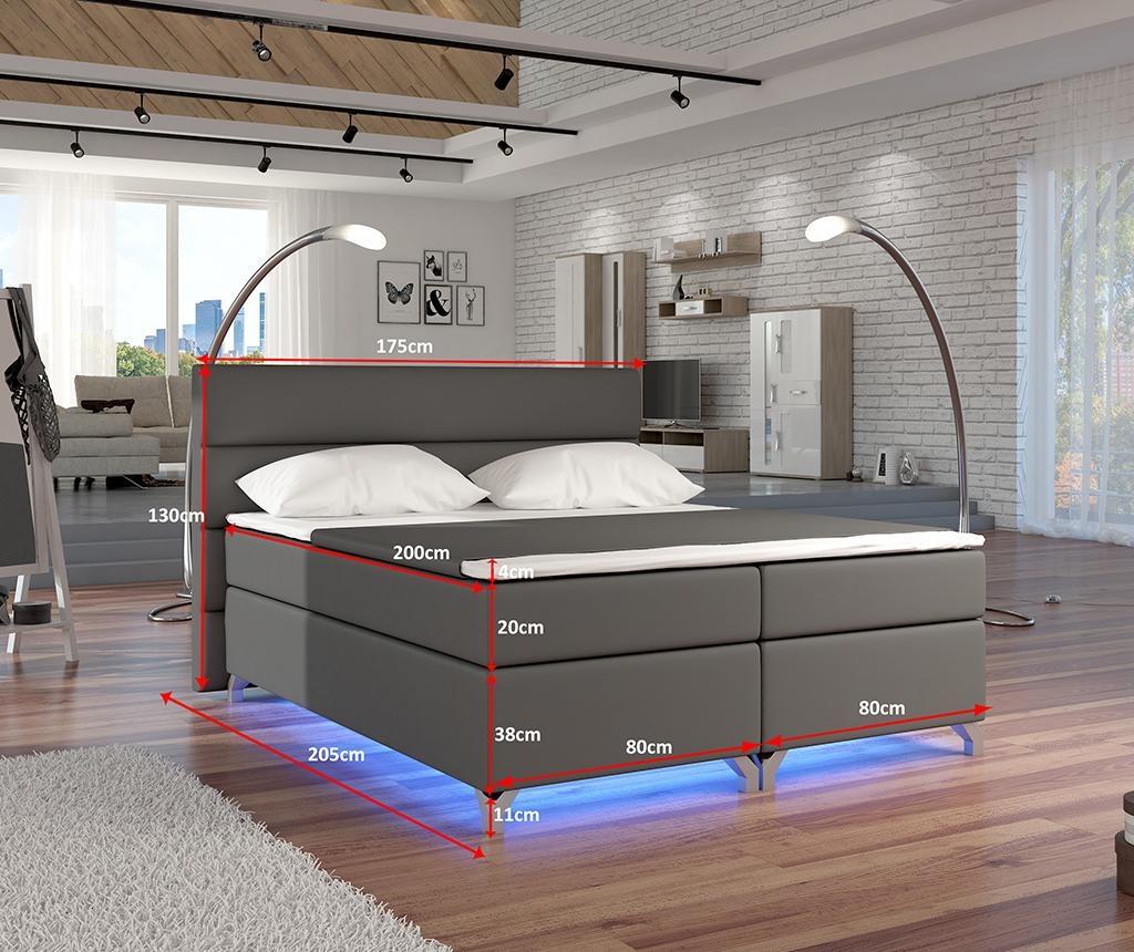 Boxspring krevet s LED svjetlom Basilio Grey 160x200 cm