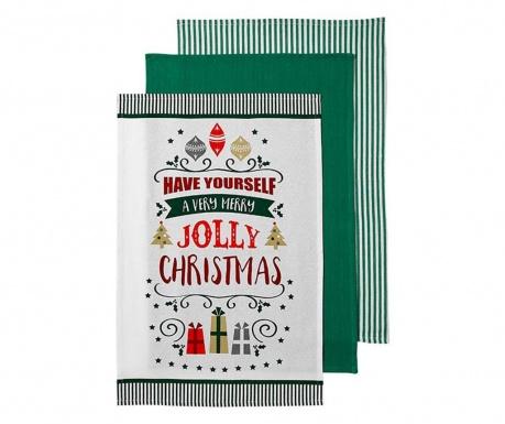 Zestaw 3 ręczników kuchennych Very Merry Green 45x70 cm