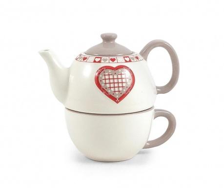 Комплект чайник с чашка Hearts
