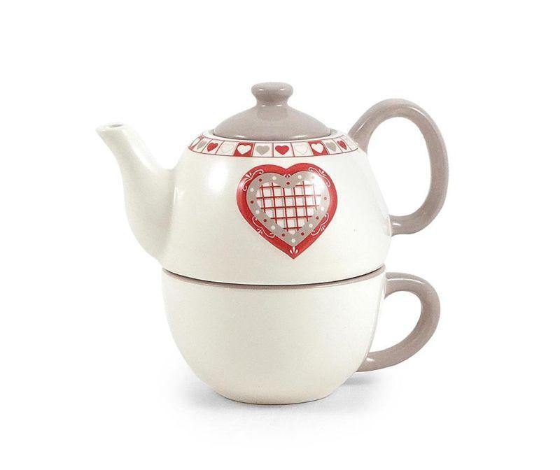 Set ceainic si cana Hearts