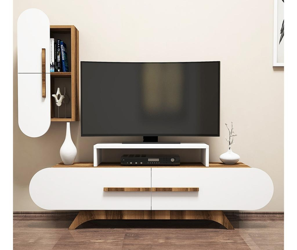 Set comoda TV si corp suspendabil Rose S  Walnut White