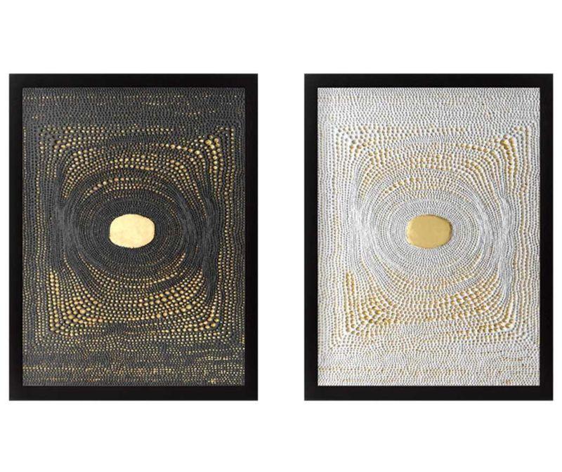 Sada 2 obrazů Center Golden 34x44 cm