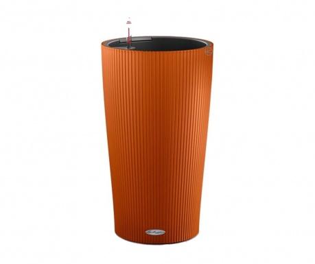 Set - cvetlični lonec z avto-namakalnim sistemom in držalo Cilindro Sunset Orange