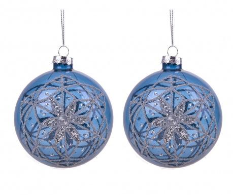 Set 2 globuri decorative Silver Star Glitter