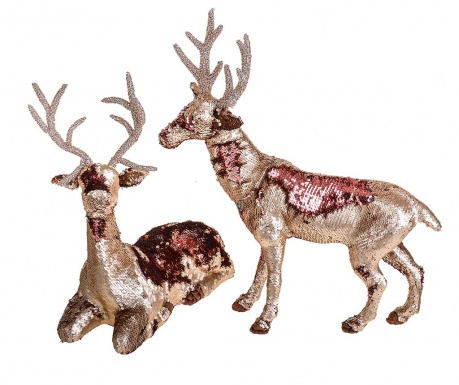Set 2 decoratiuni Sequins Reindeer