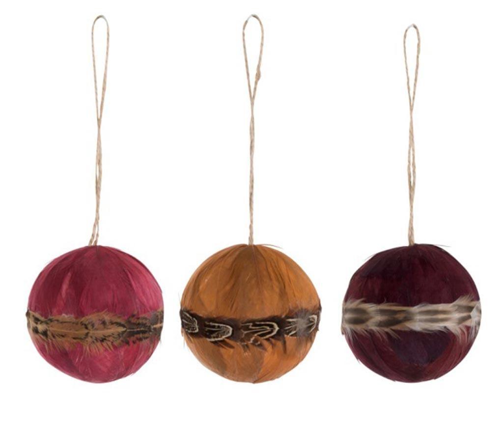 Set 3 globuri decorative Plume