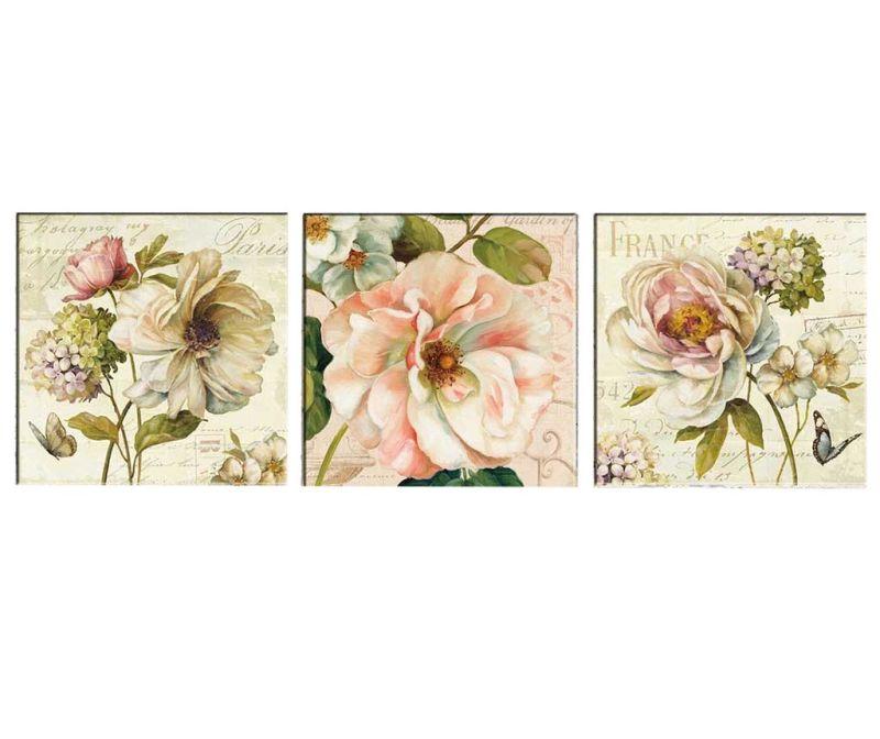 Sada 3 obrazů Vintage Flowers 30x30 cm