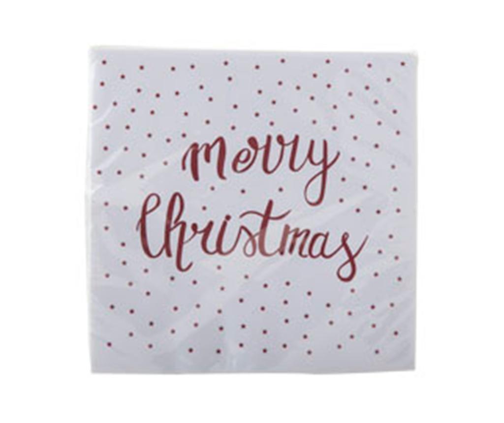 Set 20 servetele Merry Christmas  Red 33x33 cm