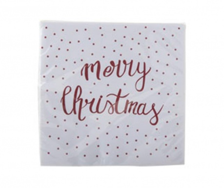 Set 20 servetele Merry Christmas  Red 33x33 cm