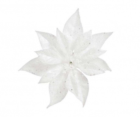 Decoratiune Poinsettia Glitter White