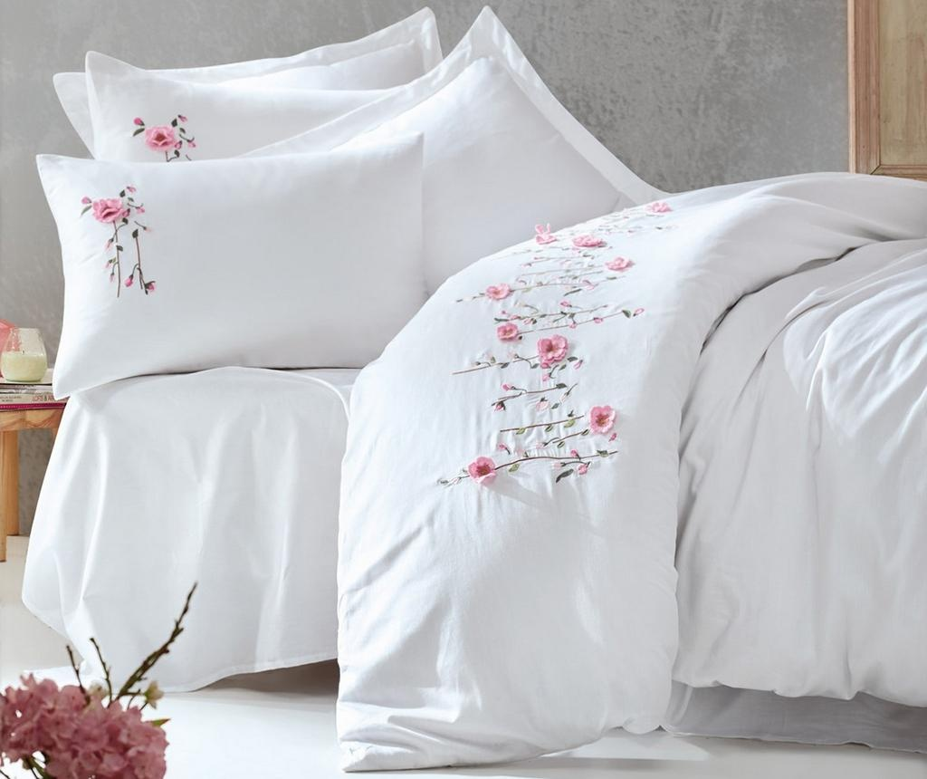 Спално бельо King Satin Supreme Perla Embroidered White 200x220