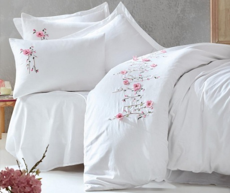 Lenjerie de pat King Satin Supreme Perla Embroidered White