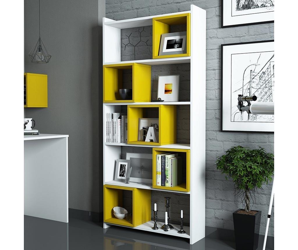 Set - knjižni regal in 5 modularnih polic Devona White and Yellow