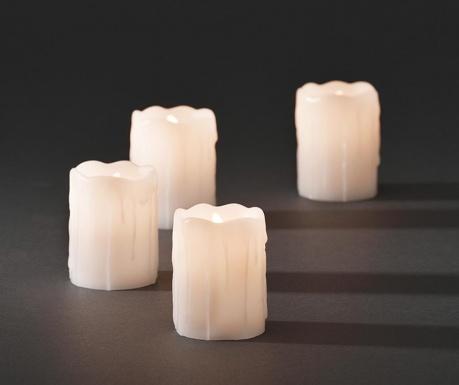 Set 4 lumanari cu LED Melted White