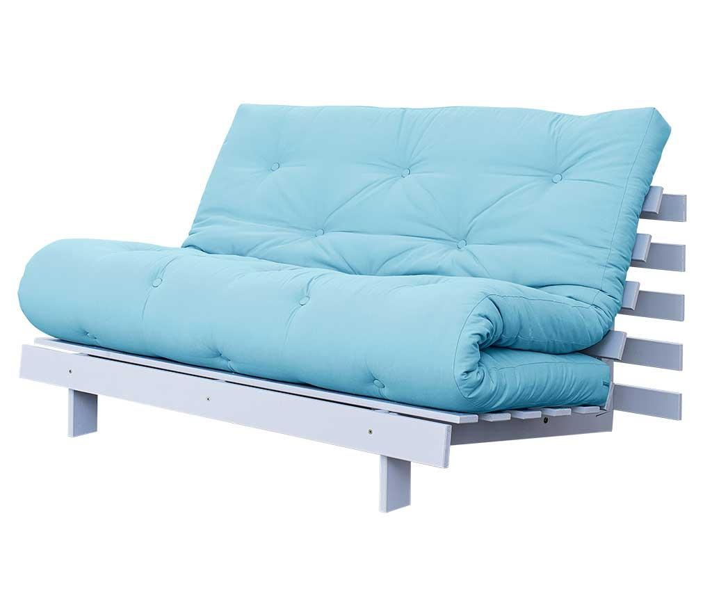 Sofa extensibila Roots White and Celest Blue 140x200 cm