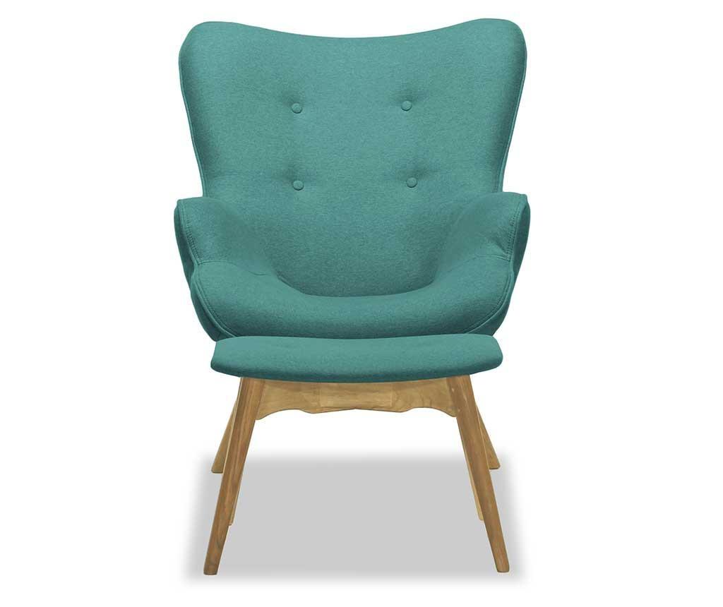 Set fotoliu si taburet pentru picioare Ducon Ontario Cream Turquoise