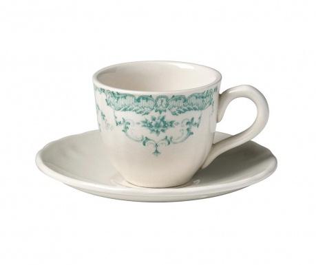 Сервиз 6 чашки и 6 чинийки за кафе Rose Turquoise