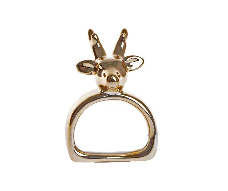 Obroček za prtiček Reindeer Gold