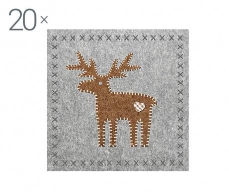Zestaw 20 serwetek Reindeer