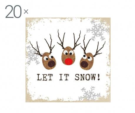 Zestaw 20 chusteczek Let It Snow
