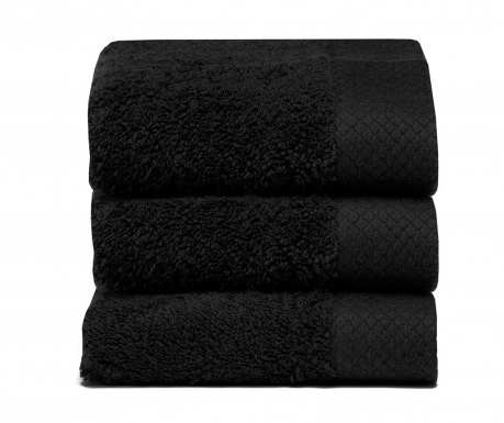 Set 3 kupaonska ručnika Pure Black