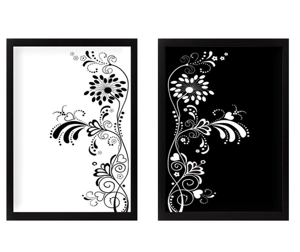 Zestaw 2 obrazów Black and White Harmony 34x44 cm