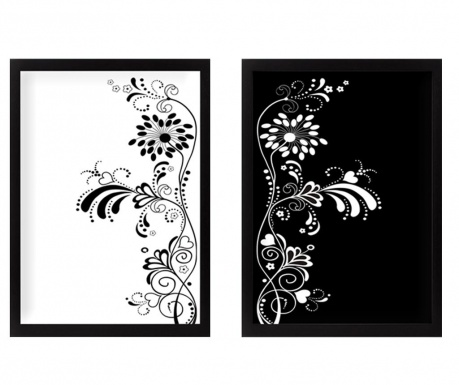 Set 2 tablouri Black and White Harmony 34x44 cm
