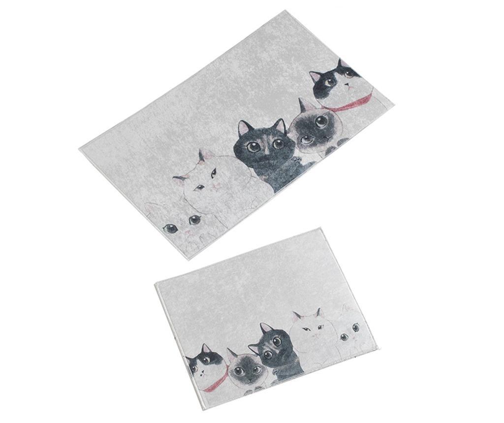 Set 2 kopalniških preprog Curious Cats