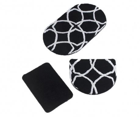 Σετ 3 χαλάκια μπάνιου Geometric Oval Black