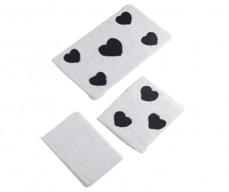 Σετ 3 χαλάκια μπάνιου Black Hearts
