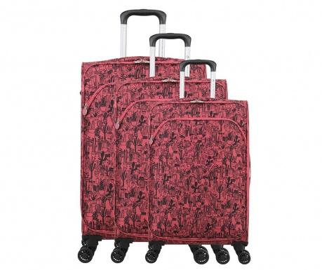 Σετ 3 βαλίτσες τρόλεϊ Lulu Cactus Pink