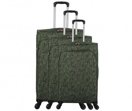 Set 3 kovčkov na kolesih Lulu Cactus Kaki