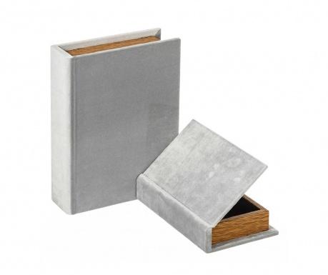 Set 2 škatel v obliki knjige Misty Grey